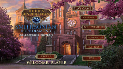 """Take off on an adventure to save the iconic Smithsonian Hope Diamond in Big Fish's """"Hidden Expedition: Smithsonian Hope Diamond"""" for iPhone and iPad. In this first collaboration by the Smithsonian on a video game, Big Fish worked with the National Museum of Natural History, Jeff Post, the Smithsonian's curator of the National Gem and Mineral Collection. Big Fish has incorporated the facts and legends behind the Hope Diamond into this exciting game now available on iOS. (PRNewsFoto/Big Fish) (PRNewsFoto/BIG FISH)"""