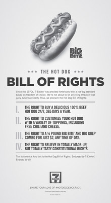 7-Eleven Proclaims Hot Dog Bill of Rights and calls for Americans to exercise their freedom of choice to top their hot dogs just how they want.