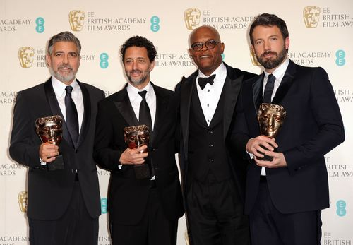 George Clooney, Grant Heslov, Samuel L Jackson and Ben Affleck at the BAFTA Awards 2013 (PRNewsFoto/RWEL)