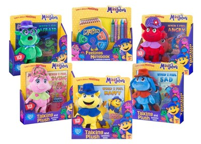 The Moodsters Feelings Notebook & Feelings Crayon Set and The Moodsters Talking Plush and Activity Book assortment.