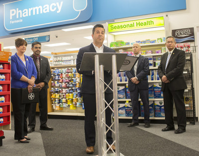 U.S. Congressman Ben Ray Lujan joins New Mexico Secretary of Health Lynn Gallagher, Santa Fe County Sheriff Robert A. Garcia and CVS Pharmacy Supervisor for New Mexico Andrew Bustos, R.Ph. at a CVS Pharmacy in Santa Fe to announce that all CVS Pharmacy locations in the state will increase access to the opioid overdose-reversal medication naloxone.