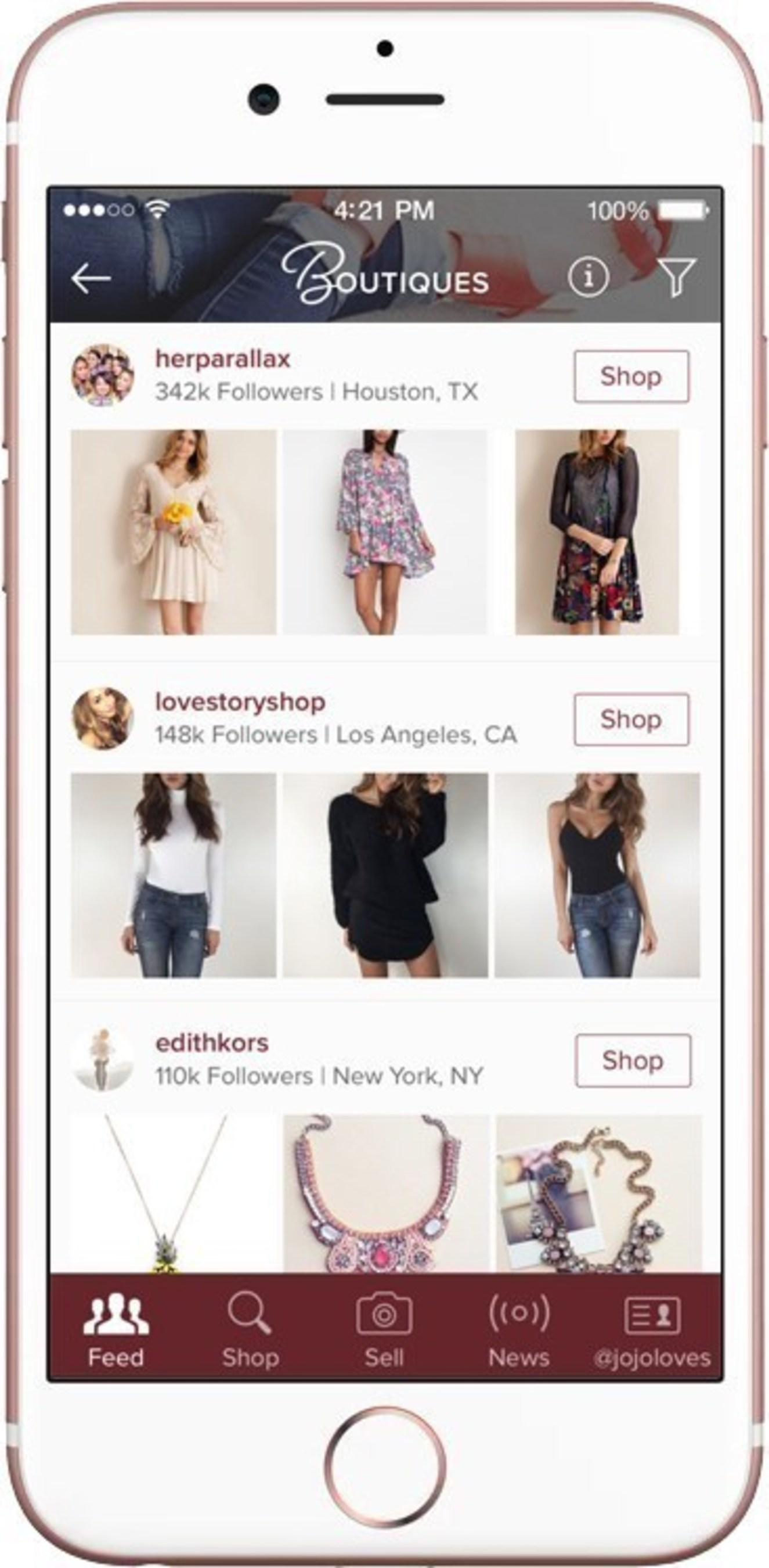 Poshmark Boutiques Section