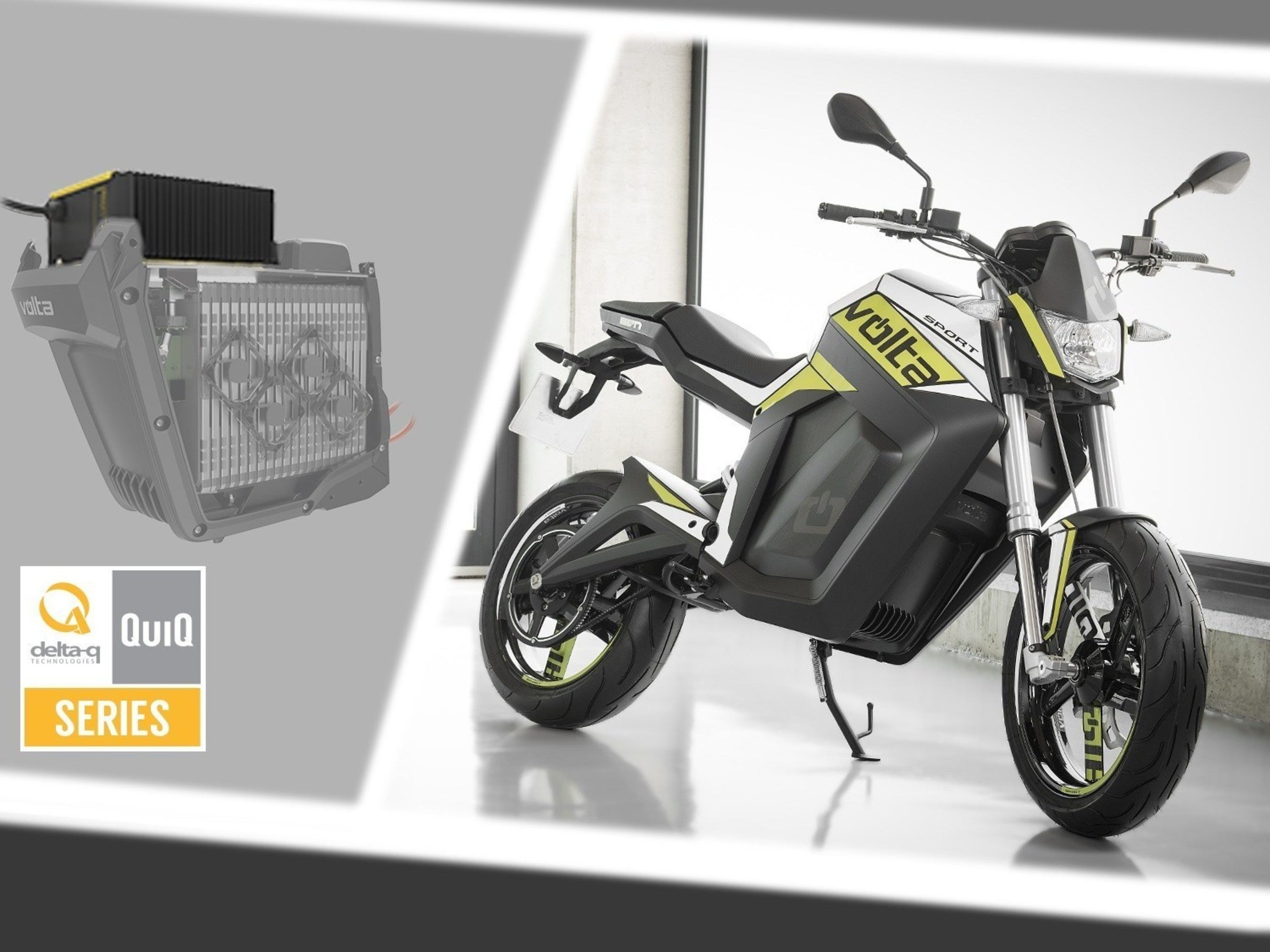 Delta-Q als Lieferant der Batterieladegeräte der elektrischen Motorräder von Volta Motorbikes