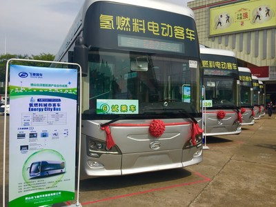 A portion of the new Foshan fuel cell bus fleet
