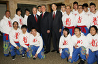 Howard P. Milstein, Chairman and CEO of Emigrant Bank, center, New York City Mayor Michael Bloomberg, left, and Sun Guoxiang, New York Consul General for the People's Republic of China, right, pose with members of the New York United Lion and Dragon Dance Troupe at the Mayor's annual reception celebrating Chinese Lunar New Year 4710 on January 30, 2012. Emigrant Bank was the primary financial supporter of the event.  (PRNewsFoto/Emigrant Savings Bank)