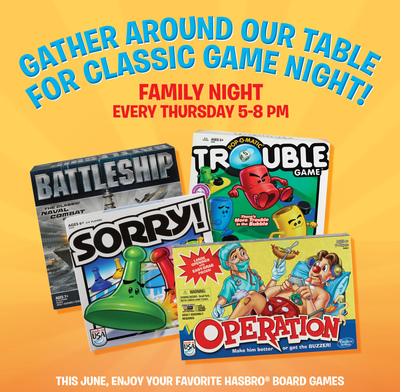 Ryan's, HomeTown Buffet and Old Country Buffet serve up family game night with Hasbro promotion this June. (PRNewsFoto/Ovation Brands)