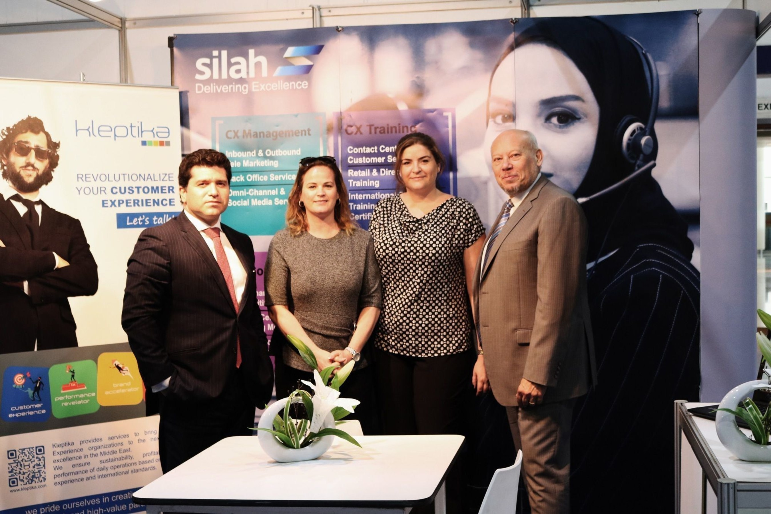 Silah Gulf's CEO, Ricardo Langwieder-Goerner, Jo O'Flynn, CTO at Silah Gulf, Sandrine Piedras, GM at Kleptika and Thierry Petrens, Kleptika's Founder and Managing Partner. (PRNewsFoto/Kleptika and Silah Gulf)