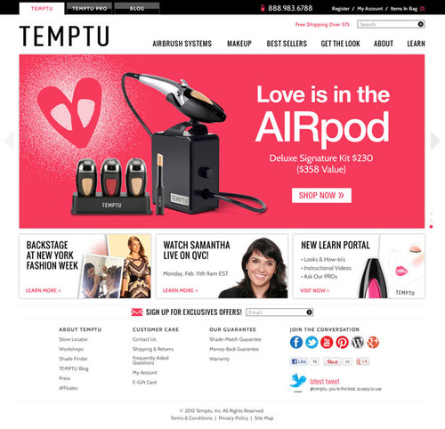 TEMPTU eCommerce site redesign with GET THE LOOK and LEARN section.  (PRNewsFoto/TEMPTU, Inc.)