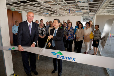 At left, Robert Degnan, Sysmex America Inc. Executive Vice President with Sysmex Corporation CEO Hisashi Ietsugu at Irvine, Ca celebration