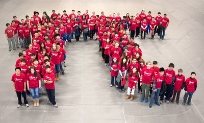 Raytheon kicks off its Pi Day (March 14) celebration by assembling more than 100 of the nation's brightest middle school Mathletes into a giant human pi symbol at Wentworth Institute of Technology to promote science and math. As part of Raytheon's MathMovesU® initiative, the company observes Pi Day to highlight the significance of pi calculations in science, technology, engineering and math and to thank local teachers for inspiring the next generation of innovators.