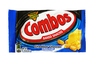 COMBOS SNACKS CHEDDAR CHEESE CRACKER - SINGLES - 1.70 OZ - 18 CT - 12/CA