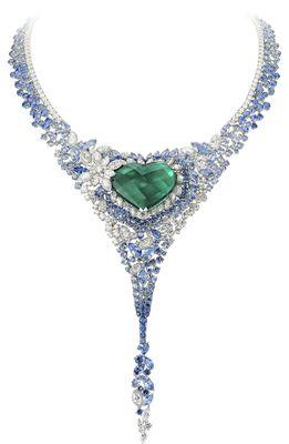 Unique heart shape emerald necklace-worn by Ornella Muti.
