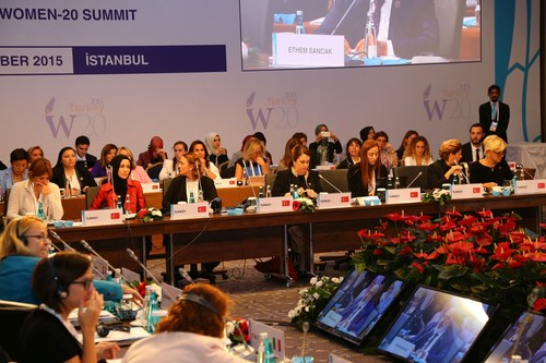 """W20's mandate is to advance recent G20 commitments on: women's full economic and social participation (Los Cabos Leaders"""" Declaration, 2012); enhance women's financial inclusion and education (St Petersburg Leaders"""" Declaration, 2013); and reduce the gap in participation rates between men and women in our countries by 25 per cent by 2025 (Brisbane Leaders"""" Declaration, 2014). Additional areas of W20's focus identified include promoting women's entrepreneurship, women's leadership in business and the public sector, and healthcare. (PRNewsFoto/G20 Turkish Presidency) (PRNewsFoto/G20 Turkish Presidency)"""