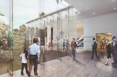 Concept rendering depicting the interior of the new glass lobby addition to the Asian Art Museum, Seattle, Washington. The addition will improve circulation through the galleries and provide direct visual connections to Volunteer Park.