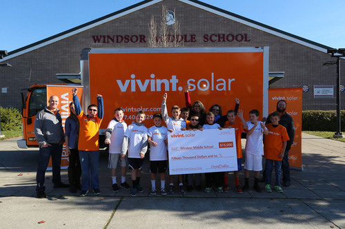 Vivint Solar Presents 6th Graders at Windsor Middle School $15,000 Donation to Attend Science Camp.  (PRNewsFoto/Vivint Solar)