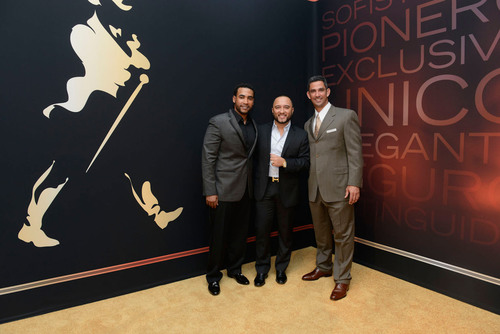 Don Omar, Alex Sensation and Jorge Posada in New York at launch of Johnnie Walker's My Label is Black ...