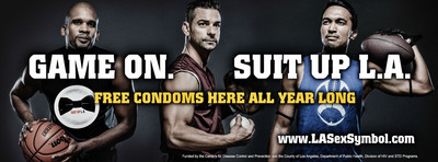 Openly gay athletes 'Suit Up' for official L.A. Condom campaign.  (PRNewsFoto/Los Angeles County Department of Public Health)