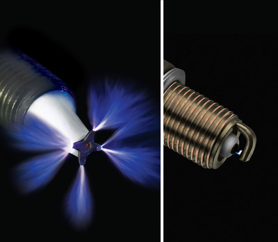 Federal-Mogul's Advanced Corona Ignition System (ACIS, left) uses a high-energy, high frequency electrical field to produce repeatable, controlled ionization, creating multiple streams of ions to ignite the fuel mixture throughout the combustion chamber, whereas conventional spark ignition (right) creates only a small arc in the gap between the electrodes of a spark plug. ACIS has enabled an up to 10-percent fuel efficiency improvement over standard spark ignition in development testing. (Photos courtesy Federal-Mogul Corporation).  (PRNewsFoto/Federal-Mogul Corporation)