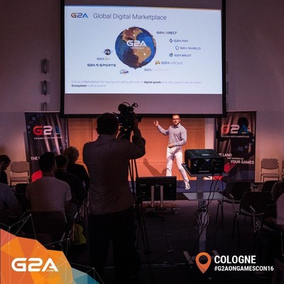 CEO of G2A Bartosz Skwarczek, at the G2A Press Conference at Gamescom 2016. Presenting the G2A Ecosystem to international journalists. (PRNewsFoto/G2A.com)