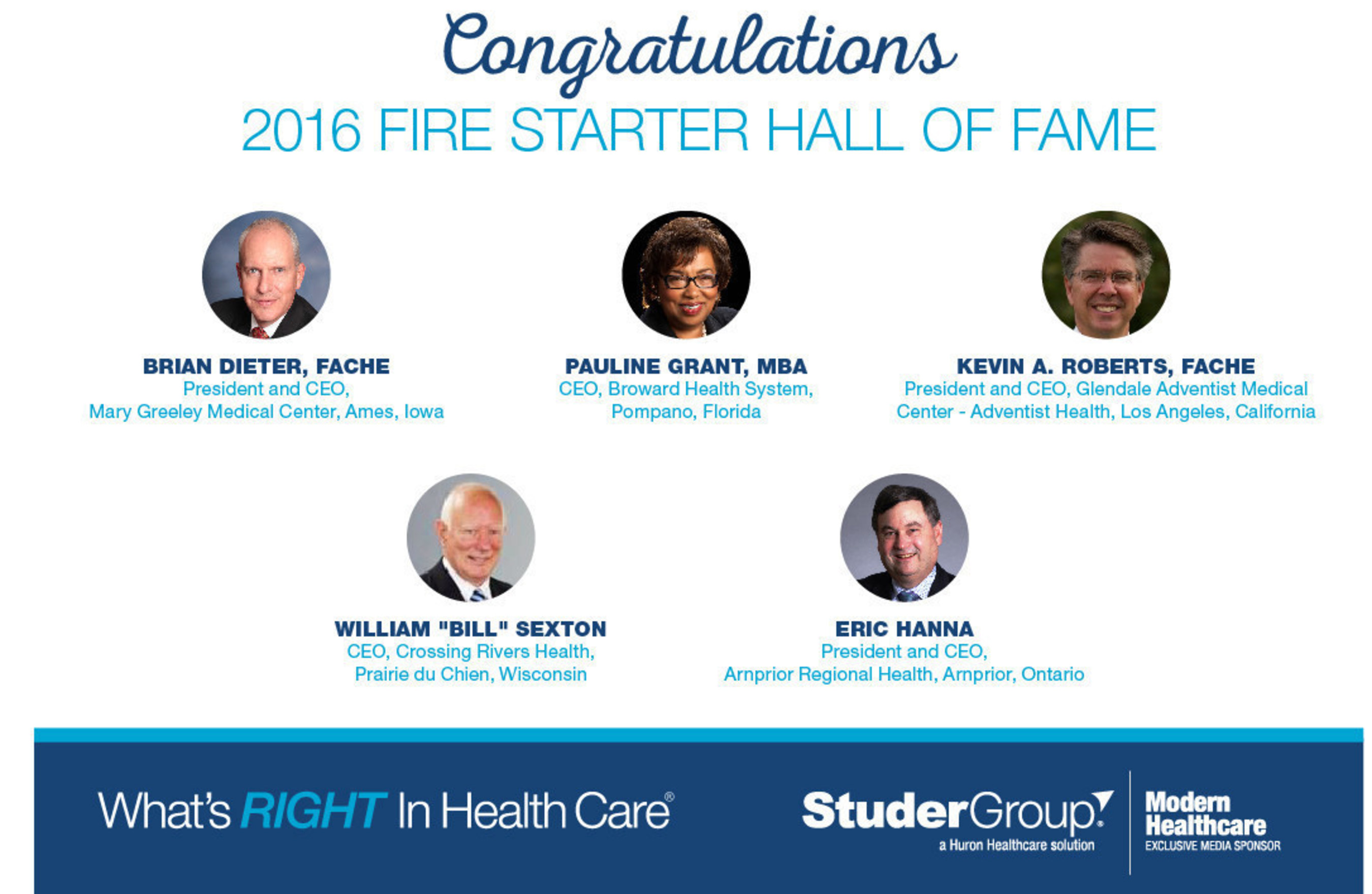 2016 Studer Group Fire Starter Hall of Fame Inductees