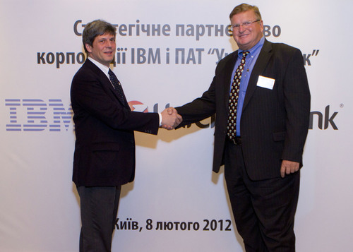 IBM and Ukrsotsbank Ukraine Sign 10-Year Services Agreement.  (PRNewsFoto/IBM Corporation)