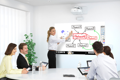 The new Epson BrightLink(R) Pro-Series transforms virtually any flat surface into a digital whiteboard, and delivers new Whiteboard Sharing Tools increased collaboration, as well as advanced connectivity options. The BrightLink Pro 1430Wi (pictured) supports finger touch annotation including gestures and up to six fingers, as well as dual-pen support. (PRNewsFoto/Epson America Incorporated)