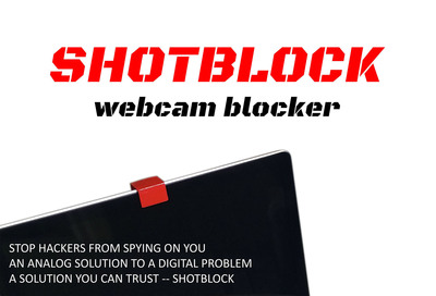 The Shotblock, is a new and convenient device fitted over a webcam and used to protect one's privacy from hackers or other prying eyes.  (PRNewsFoto/Project Shotblock)
