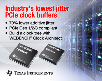 Industry's lowest jitter PCIe clock buffers for communications, networking and data center systems. (PRNewsFoto/Texas Instruments) (PRNewsFoto/TEXAS INSTRUMENTS)