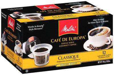 Melitta Cafe de Europa(TM) Single Serve Gourmet Coffee.  (PRNewsFoto/Melitta)
