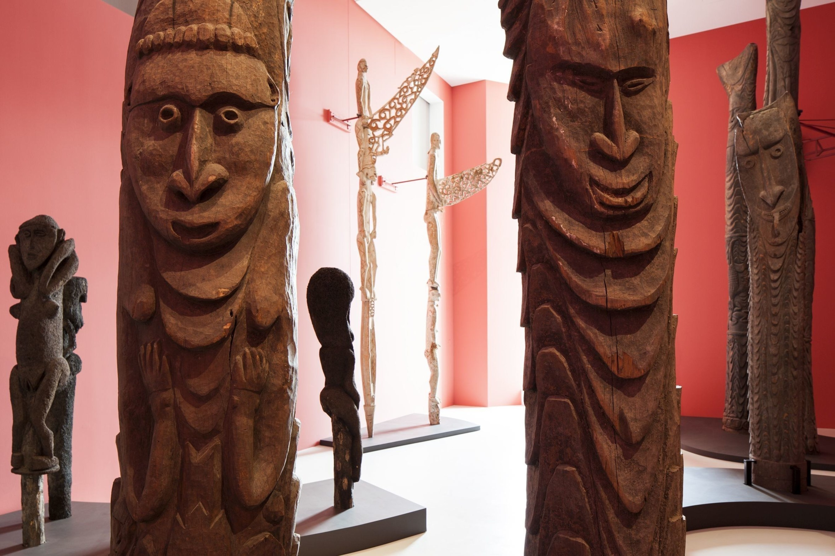 The biggest objects: house posts, figures of ancestors and bis-poles from Oceania, up to 7 metres long (C) MKB (PRNewsFoto/Museum der Kulturen Basel)