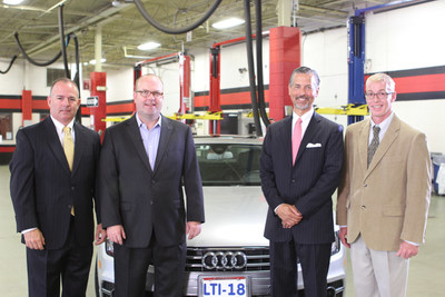 Lincoln Tech announces its selection as a Premium Plus Career Training Partner by Audi of America, providing manufacturer-specific training for its students. Pictured from left to right are Jon Branch, Audi Senior Manager Region Aftersales; Matt Shepanek, Audi National Manager Technical & Collision Training; Scott Shaw, Lincoln Tech President & CEO; Jay Rasmussen, Lincoln Tech Mahwah Campus President.