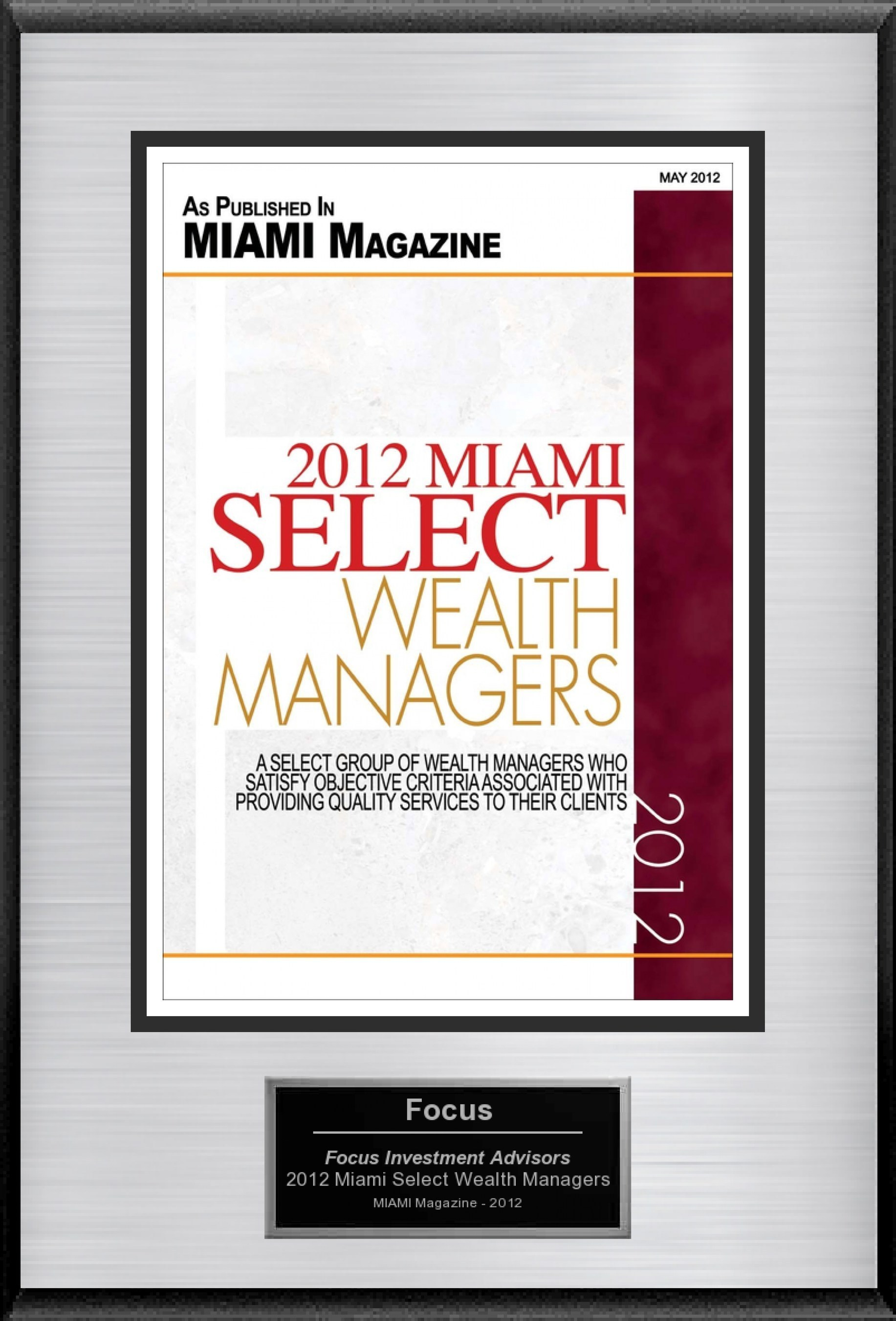 """Marcelo Alves Selected For """"2012 Miami Select Wealth Managers"""""""