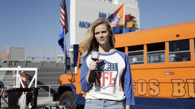 To celebrate the launch of the 2016 NFL Women's Apparel Collection, Brooklyn Decker observes fan style at the NFL Regular Season Kickoff in Denver.