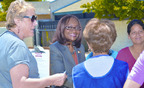 "Walking the District: Doris L. Wallace, candidate for the 52nd Assembly District (center) has walked to meet the voters in her District every day of her campaign. She listens to the concerns of voters and offers her approaches to solving the problems the District faces. ""I walk to meet people and let them know we care and offer real solutions,"" Wallace said.  The special election will be Tuesday, July 23, 2013. Recently, the California Chapter of the National Association of Social Workers, with about 10,500 members has endorsed Wallace. (Photo by Larry Warmsley).  (PRNewsFoto/Doris L. Wallace)"