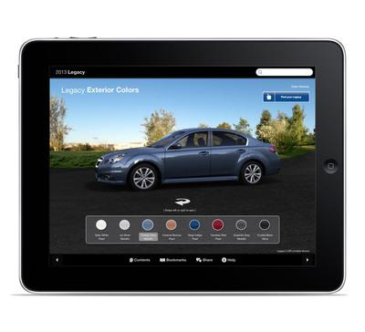 2013 Subaru Legacy Dynamic Brochure iPad app.  (PRNewsFoto/Subaru of America, Inc.)