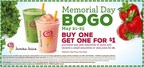 To help consumers commemorate the Memorial Day holiday, Jamba offers a special deal: Buy any size smoothie or juice and receive a small smoothie or 12oz Juice for just $1.00