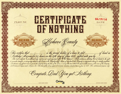 Give Dad Nothing Lease Certificate