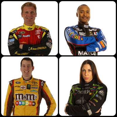 Introducing the four Toyota Racing Dream Build Challenge competitors (from top left, clockwise): Clint Bowyer, Antron Brown, Alexis DeJoria and Kyle Busch.  (PRNewsFoto/Toyota Motor Sales, U.S.A., Inc.)