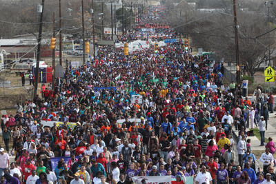 Each year more than 100,000 people participate in the City of San Antonio-sponsored march honoring the life and legacy of Martin Luther King, Jr. as part of an annual citywide commemoration. San Antonio is home to one of the largest marches in the nation honoring Dr. King. (PRNewsFoto/City of San Antonio) (PRNewsFoto/CITY OF SAN ANTONIO)