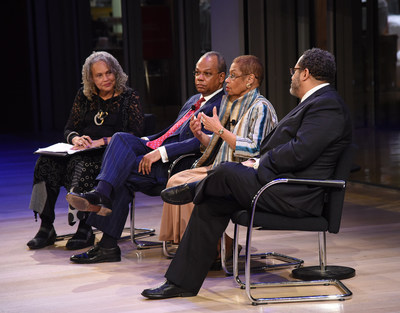 """Moderator Charlayne Hunter-Gault, with panelists Rev. Calvin O. Butts III of the Abyssinian Baptist Church, Congresswoman Eleanor Holmes Norton, and academic and radio host Michael Eric Dyson (L-R) at a launch event for Professor Henry Louis Gates Jr.'s upcoming public television series """"Black America Since MLK: And Still I Rise."""" The launch event was hosted by the Howard and Abby Milstein Foundation, Emigrant Bank and HooverMilstein, which were among the programs sponsors."""