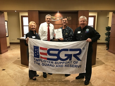 Left to right: Rebecca Heinl (Employer Support of the Guard and Reserve/ESGR), Mark Perlberg (CEO - Oasis Outsourcing), Kelley Castell - (COO - Oasis Outsourcing/Commander Navy Reserve, Peter Caspari (Employer Outreach Director - Employer Support of the Guard and Reserve/ESGR)