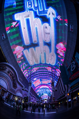 """Fremont Street Experience debuts its newest Viva Vision(R) show The Who - Miles Over Vegas in Downtown Las Vegas. The new light and sound show is built around the music of legendary rock band The Who and includes three of the band's most iconic songs - """"I Can See for Miles,"""" """"Pinball Wizard"""" and """"My Generation"""" - custom synced to stunning graphics including live music footage, album art, performance footage and more. The Who - Miles Over Vegas airs nightly at 10 p.m. as part of the ongoing Viva Vision(R) show schedule. Viva Vision(R) shows air nightly and are free to the public. www.vegasexperience.com. (PRNewsFoto/Fremont Street Experience) (PRNewsFoto/FREMONT STREET EXPERIENCE)"""