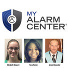 The recipient's of My Alarm Center's scholarship, from left to right, Elizabeth Stewart, Tiara Hester and James Alexander.  (PRNewsFoto/My Alarm Center)