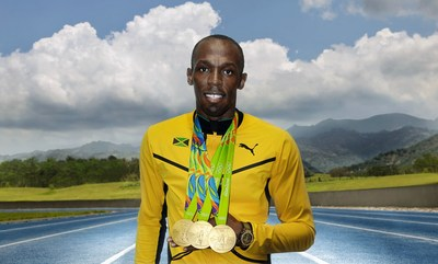 The Legend Usain Bolt with his 3 Gold Olympic Medals. (PRNewsFoto/HUBLOT)