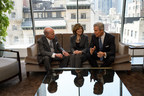 The American Heart Association CEO Roundtable co-chairs, Henry Kravis, Nancy Brown, and Terry Lundgren, discuss ideas to create a culture of health in the workplace. [Photo Credit: Kent Meister] (PRNewsFoto/The American Heart Association)