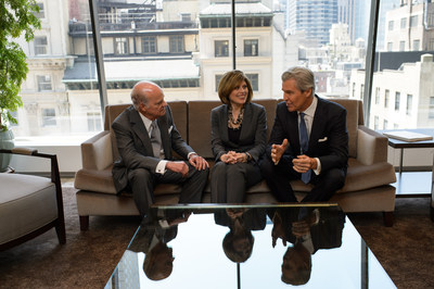 The American Heart Association CEO Roundtable co-chairs, Henry Kravis, Nancy Brown, and Terry Lundgren, discuss ideas to create a culture of health in the workplace. [Photo Credit: Kent Meister]