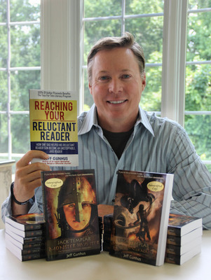 Amazon Bestselling Author Jeff Gunhus with the first two books of his award-winning Jack Templar Monster Hunter series and his guide for parents, Reaching Your Reluctant Reader.  (PRNewsFoto/Jeff Gunhus)