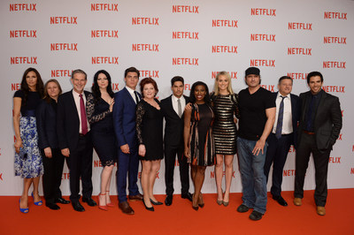 Netflix executives pose on the red carpet in Berlin with stars from Orange is the New Black, Hemlock Grove and From Dusk Till Dawn. (PRNewsFoto/Netflix, Inc.)