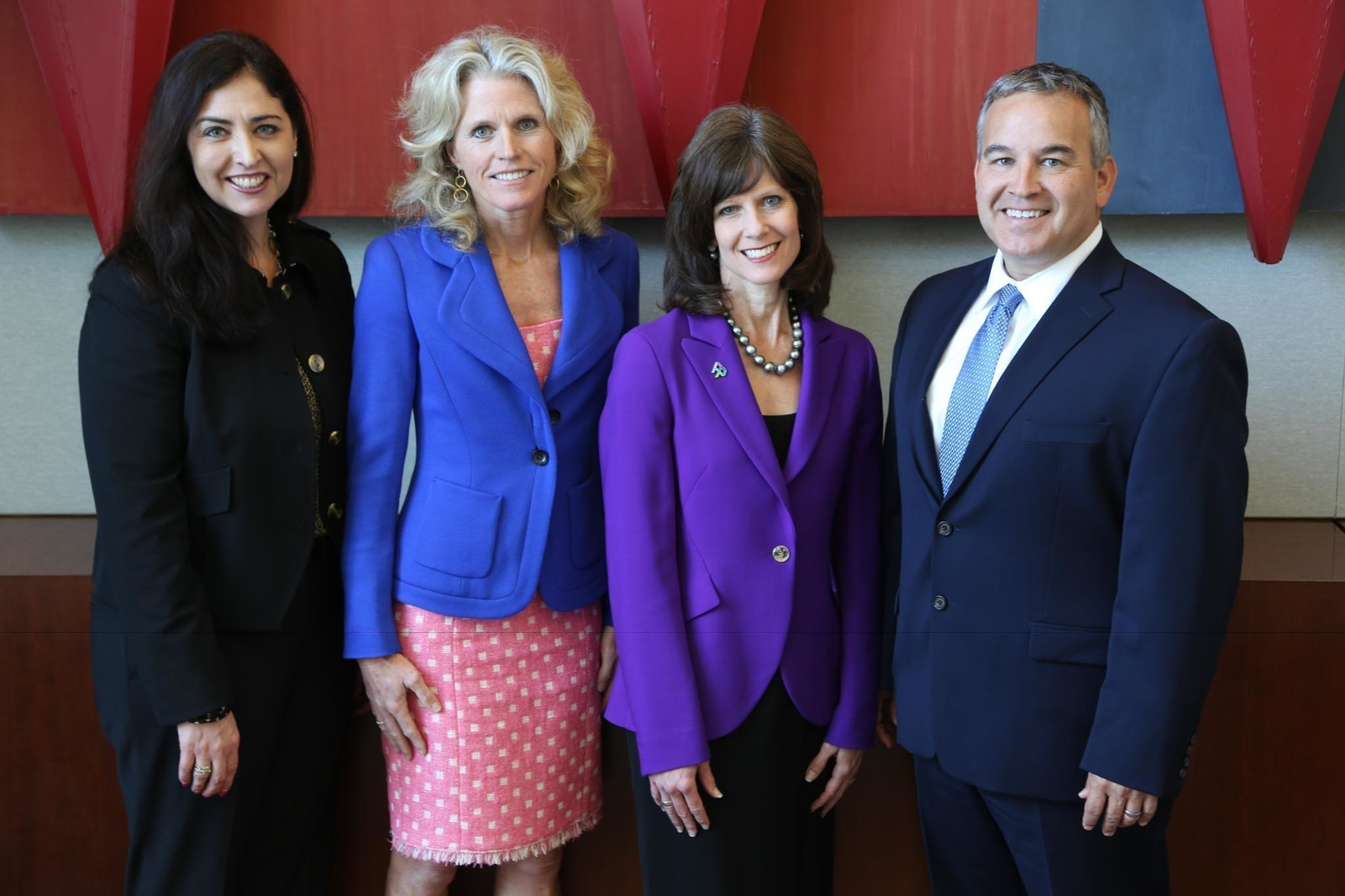 AMN Healthcare corporate governance leaders (L to R): Whitney Laughlin, Deputy General Counsel; Denise Jackson, General Counsel; Susan Salka, President & CEO; and Louis Alonso, Senior Corporate Counsel