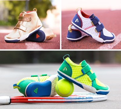 PLAE's summer games collection including (clockwise from left) Max in Gold, Ty in Red, White and Blue and Ty in Kelly Green.